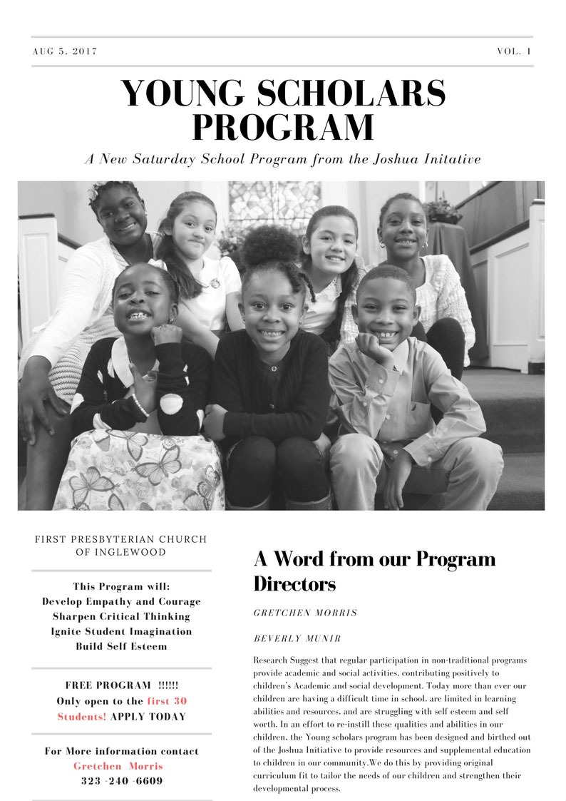 Youth Scholar and After School Program - The Joshua initiative - First Presbyterian Church-Inglewood