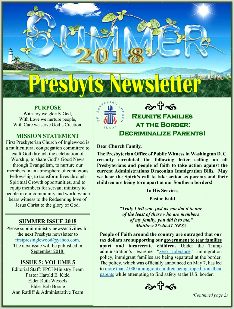 Presbyts Newsletter: Summer Issue