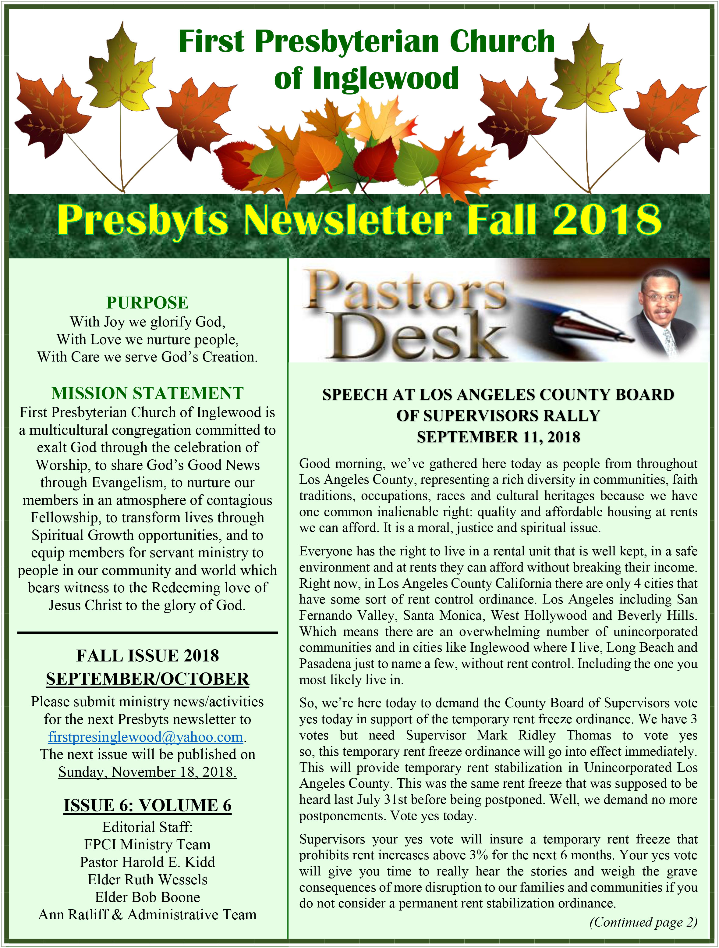 Presbyts Newsletter: Fall Issue