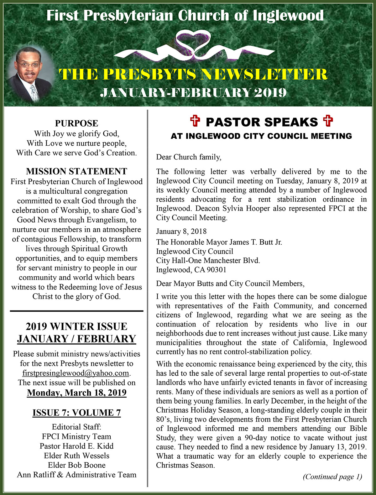 Presbyts Newsletter: Winter Issue