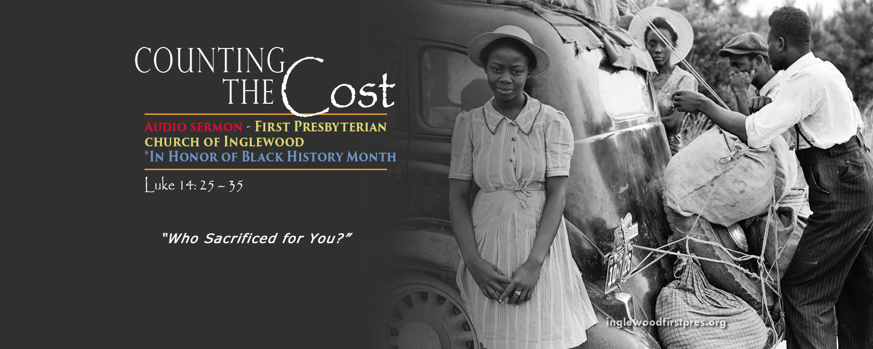 Audio Sermon: Counting the Cost (Black History Month)