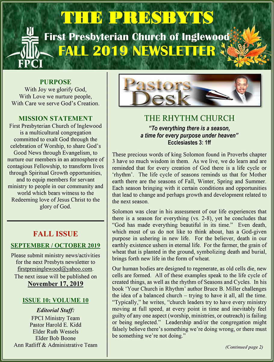 Presbyts Newsletter: Fall Issue 2019