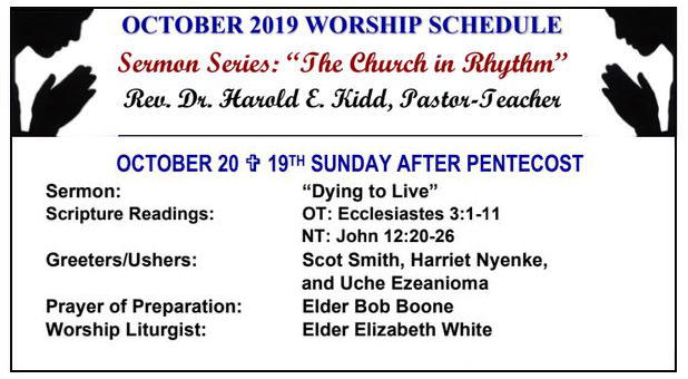 First Presbyterian Church of Inglewood's Worship schedule: October 2019