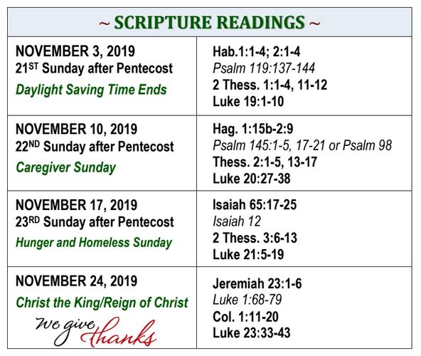 Sept./Oct. 2019 Scripture Readings from First Presbyterian Church of Inglewood, ca